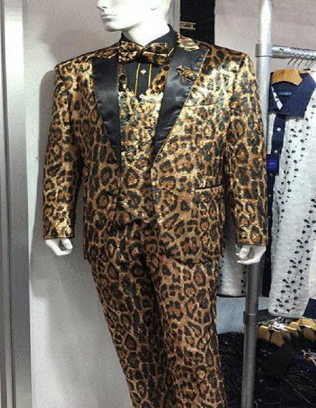 Mens Animal Print Exotic Skin Leopard Tuxedo Vested Suit Brown ~ Tan