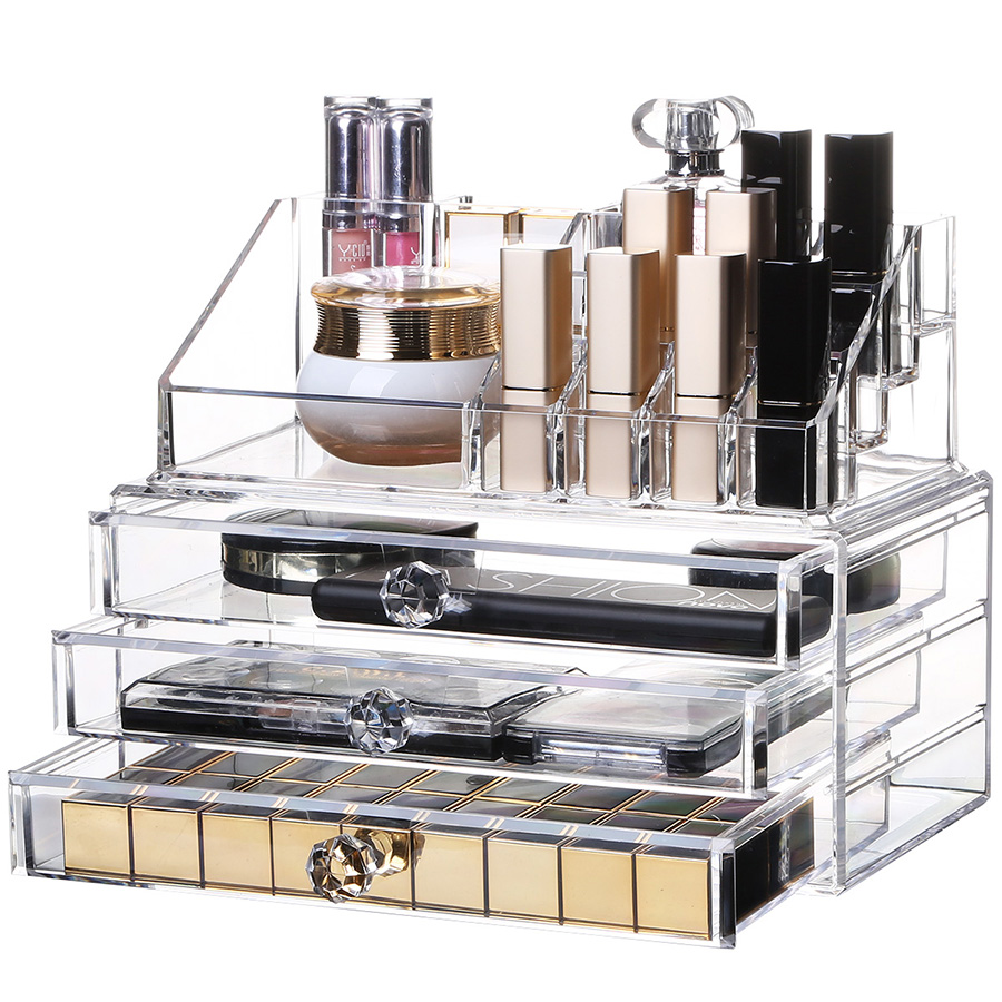 Environment Friendly Acrylic Material 23.9*15.5*18.8cm SealedCosmetic Storage Box