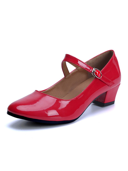 Milanoo Character Dance Shoes Red Round Toe Chunky Heel Ballroom Dance Shoes For Kids