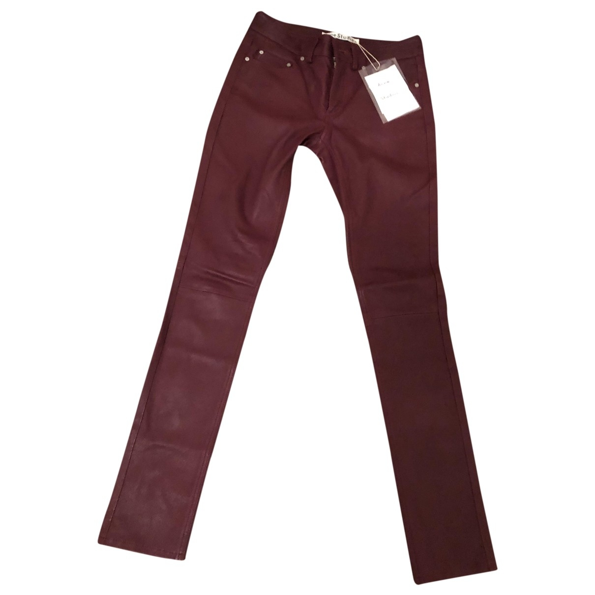 Acne Studios \N Burgundy Leather Trousers for Women XS International
