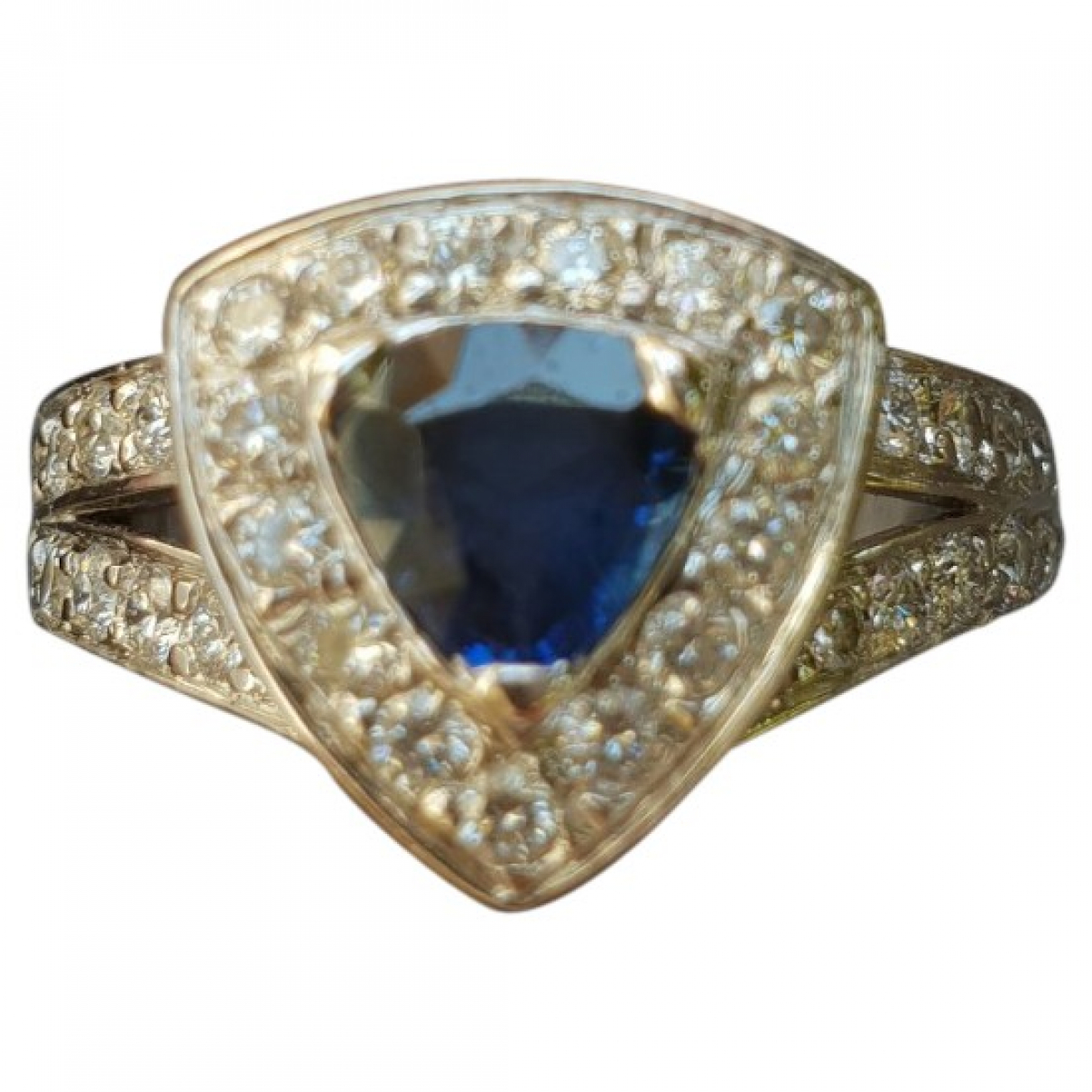 Non Signé / Unsigned Saphir Blue White gold ring for Women 52 MM