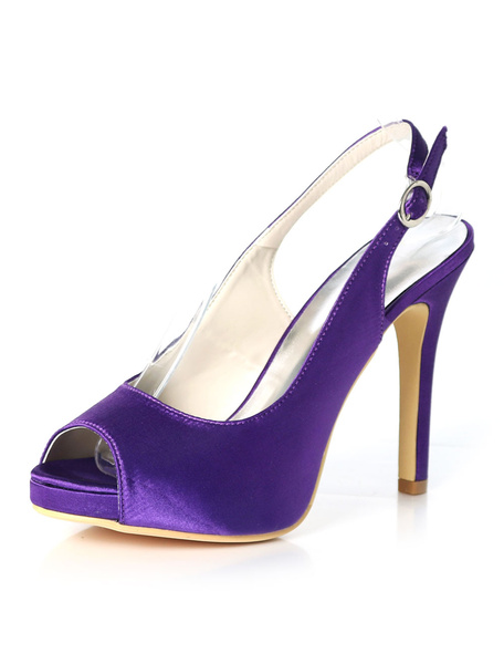 Milanoo Purple Mother Shoes Satin Peep Toe Slingbacks Wedding Shoes High Heel Wedding Guest Shoes