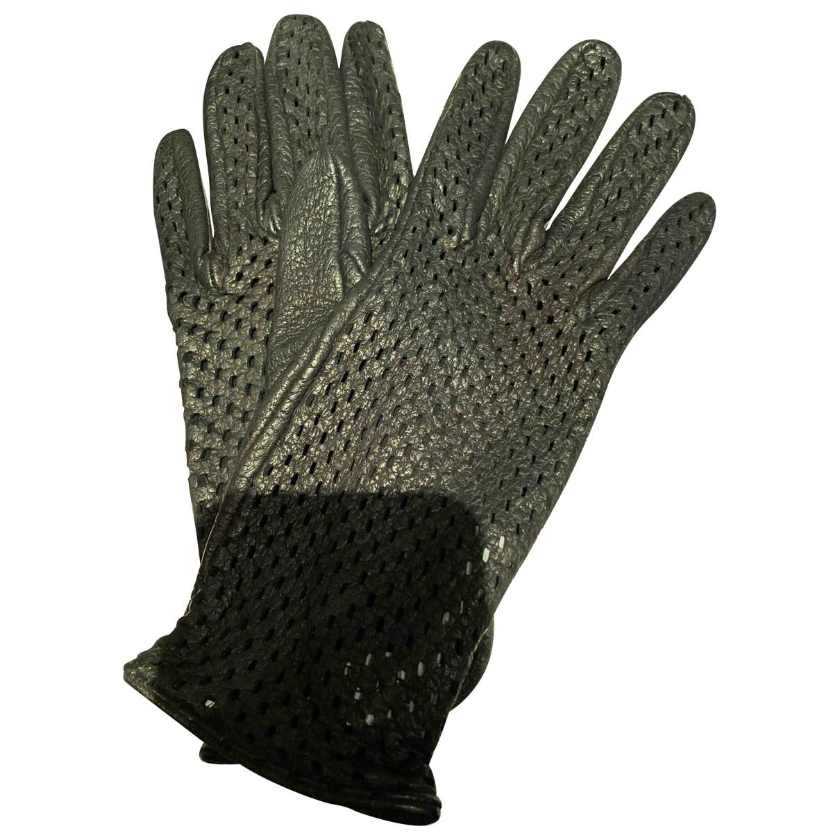 Yves Saint Laurent \N Black Leather Gloves for Women 7.5 Inches