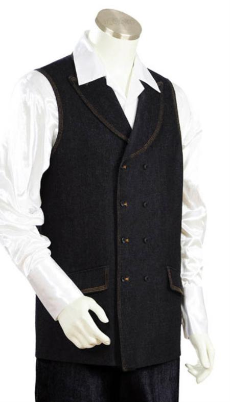 Mens 2pc Denim Vest Sets Black