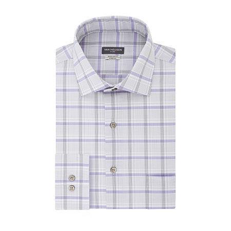 Van Heusen Flex Collar Dress Long Sleeve Shirt, 17.5 34-35, Gray