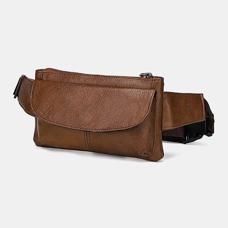 Men Genuine Leather Multi-pocket Anti-theft Multifunctional Crossbody Bag Chest Bag Sling Bag