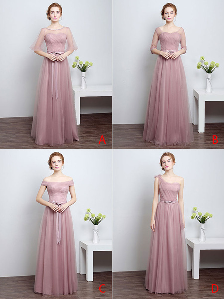 Milanoo Prom Dresses Long Cameo Pink Bridesmaid Dress Tulle Ribbon Sash Floor Length Formal Party Dress
