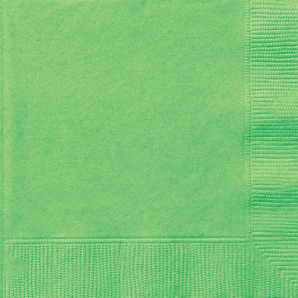 Party Beverage Napkins Solid Color 25*25cm 10*10In 2-Ply Lime Green 20Pcs