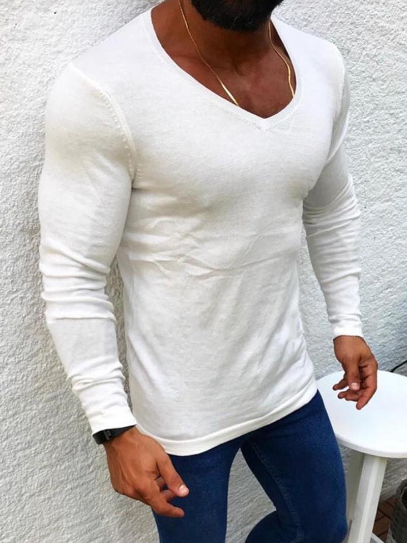 Ericdress Plain Round Neck Casual Long Sleeve Men's Slim Shirt