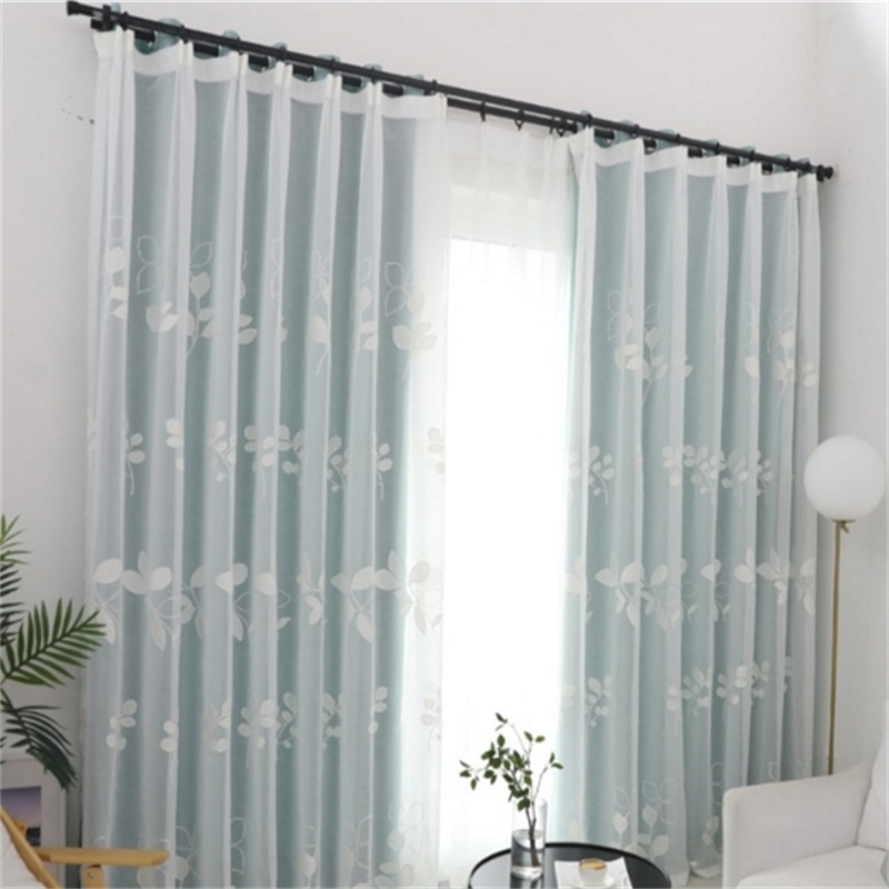 Elegant and Simple Blue with Flowers 2 Pieces Decorative and Blackout Living Room Curtain