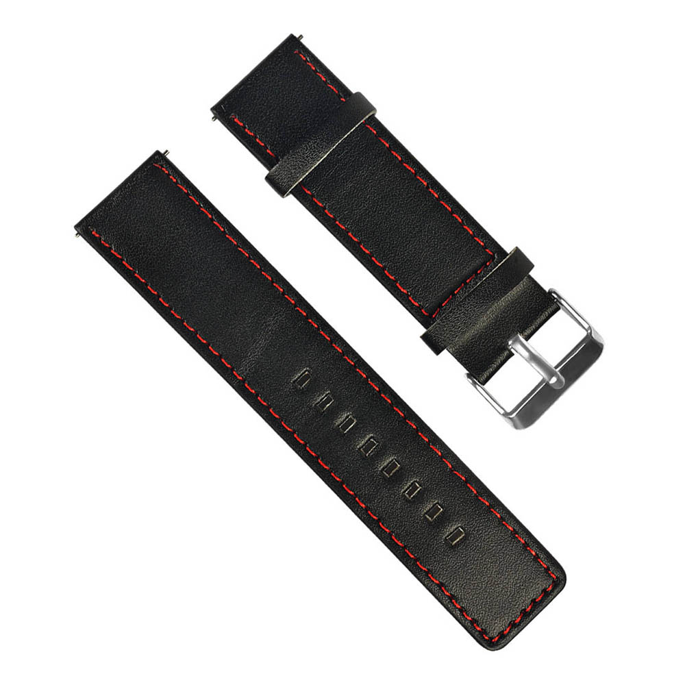 Universal 22mm Replaceable PU Leather Watch Bracelet Strap Band For Huami Amazfit Stratos 2/2S Pace - Black + Red