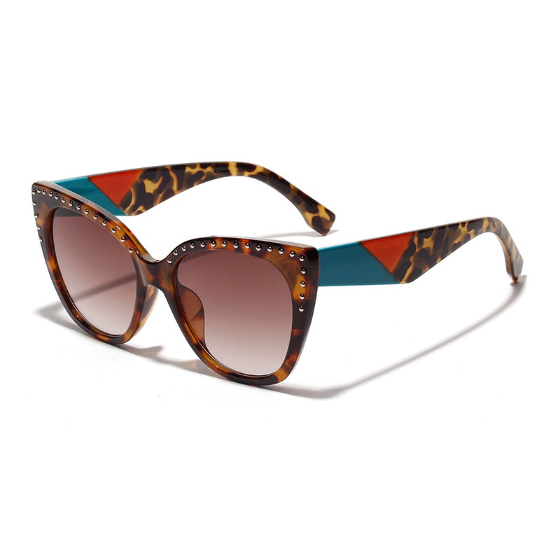 Women Vogue Vintage Print Anti-UV Cat Eye Sunglasses Outdoor Travel Beach Sunglasses