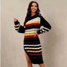 Boat Neck Split Thigh Pointelle Knit Striped Sweater Dress