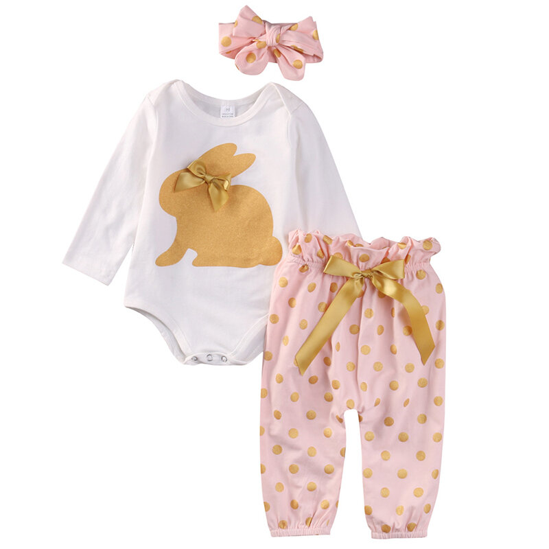 3Pcs Rabbit Cute Printed Girls Easter Romper Pants Set For 0-24 Months