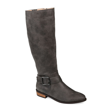 Journee Collection Womens Winona Riding Boots Stacked Heel, 8 Medium, Gray