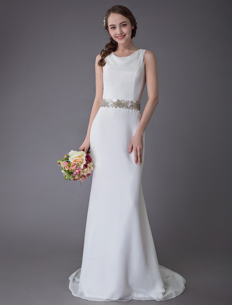 Milanoo Wedding Dresses Ivory Sheath Sash Chiffon Bridal Gowns With Train