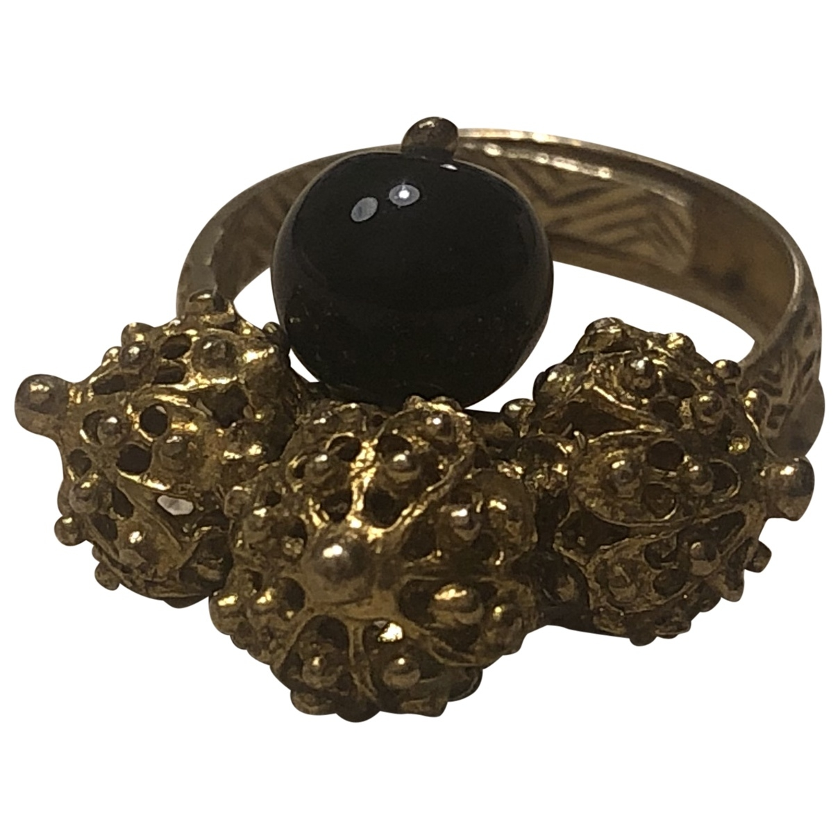 Non Signé / Unsigned Onyx Black Yellow gold ring for Women \N