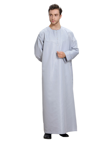 Milanoo Arabian Men Clothing Long Sleeve Round Neck Button Pullover Robe