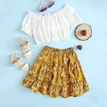 Girls Off Shoulder Frill Trim Top & Floral Skirt Set