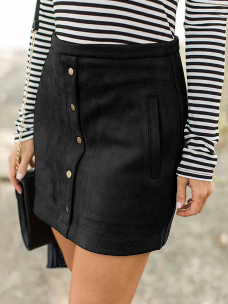 Milanoo Women Skirt Coffee Brown Buttons Suede Short Autumn Women Bottoms With Pockets