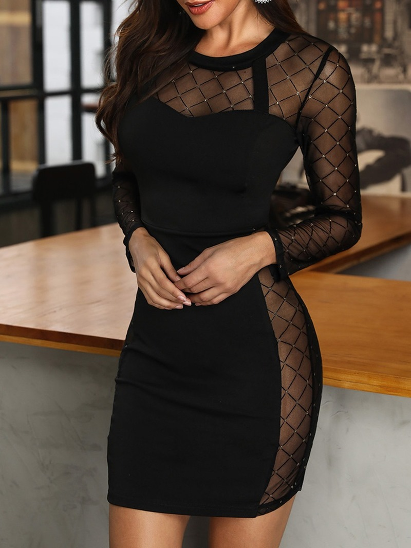 Ericdress Round Neck Mesh Above Knee Pullover Regular Dress