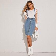 Button Front Raw Hem Pinafore Denim Skirt