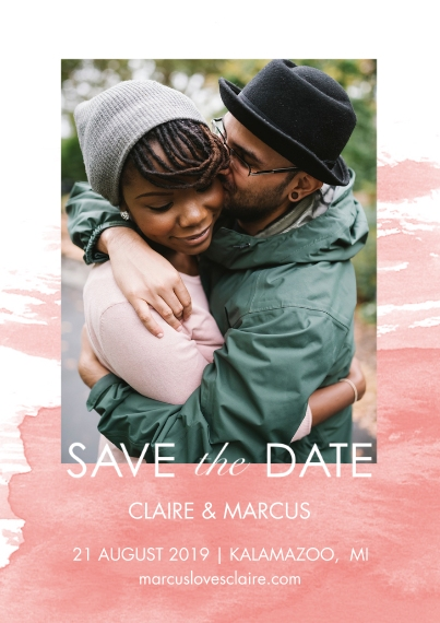 Save the Date 5x7 Cards, Premium Cardstock 120lb with Scalloped Corners, Card & Stationery -Save The Date Watercolor