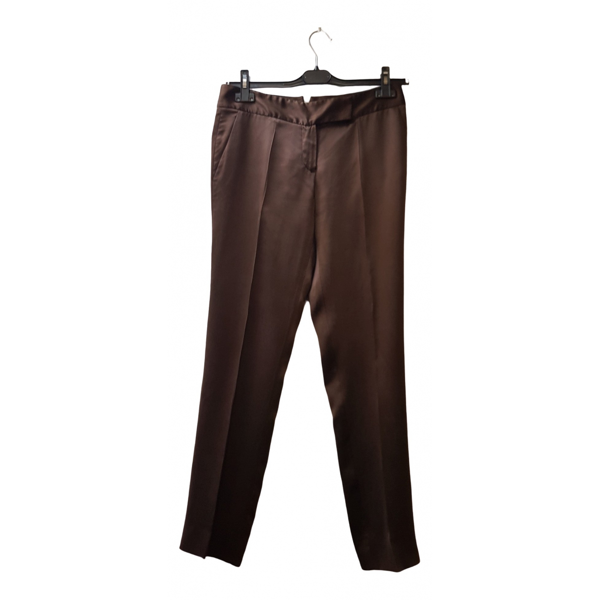 Ermanno Scervino \N Brown Silk Trousers for Women 44 IT