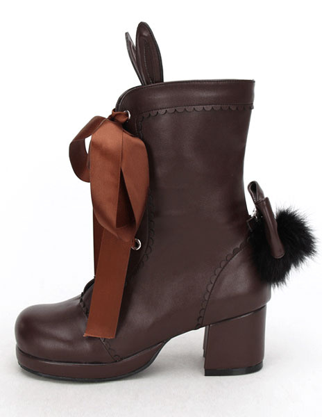 Milanoo Coffee Brown Lolita Short Boots Square Heels Lace Up Bunny Ear Decor