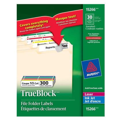 Avery TrueBlock laser/jet d'encre les etiquettes des dossiers de fichiers, 3-7/16