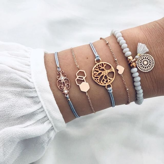Trendy Tassel Pendant Beaded Bracelet Geometric Hollow Life Tree Beads Woven Bracelet Set