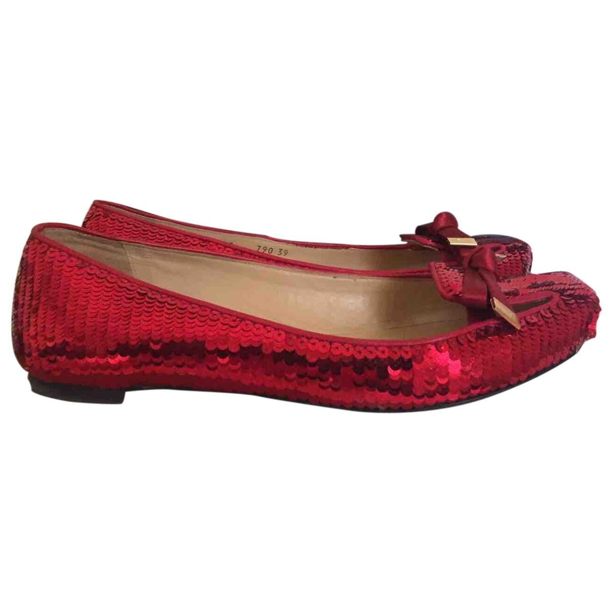 Emporio Armani \N Red Glitter Ballet flats for Women 39 EU