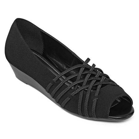 east 5th Womens Grace Open Toe-Wide Width Slip-On Shoe, 8 1/2 Medium, Black