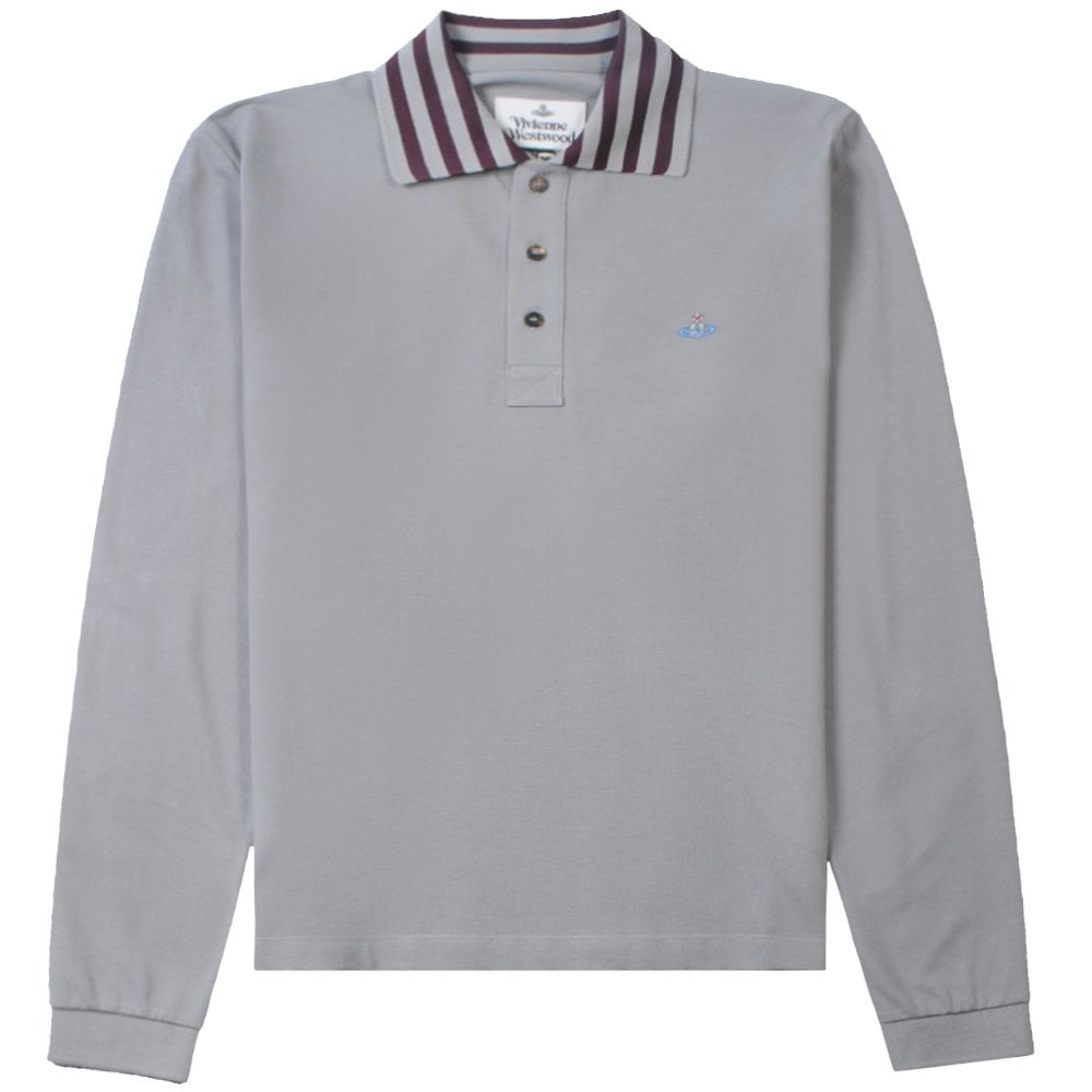 Vivienne Westwood Long Sleeve Stripe Collar Polo Shirt Colour: GREY, S