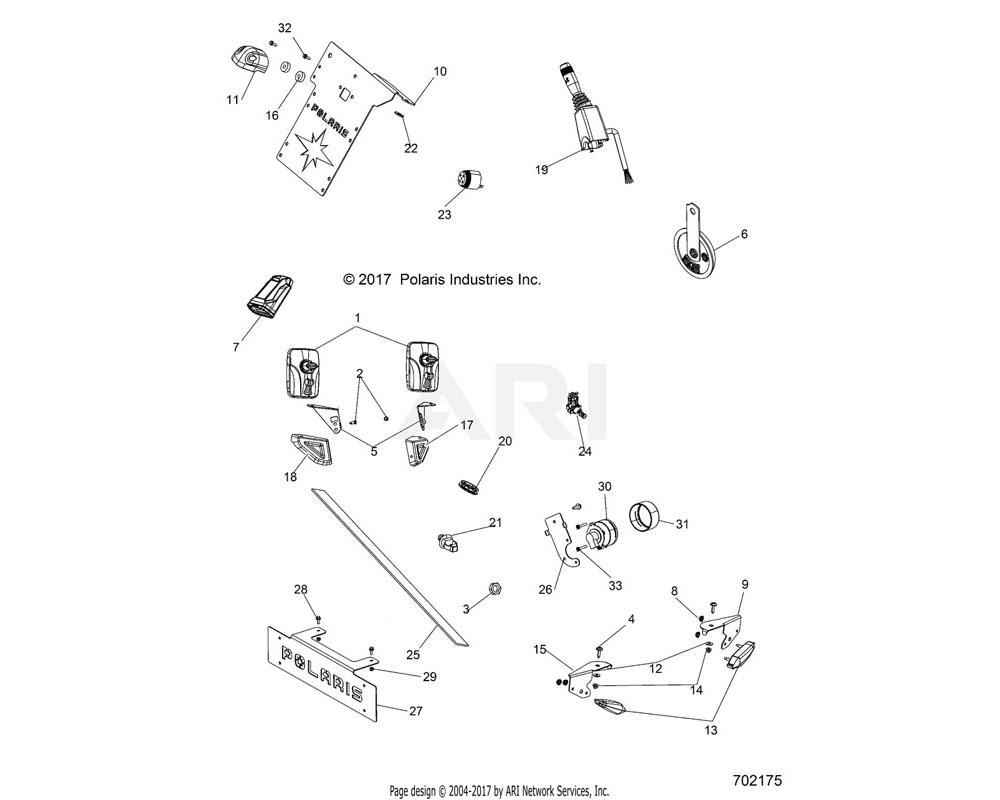 Polaris OEM 5265116-458 BRKT-TURN INDICATOR LH, GEN, BLK