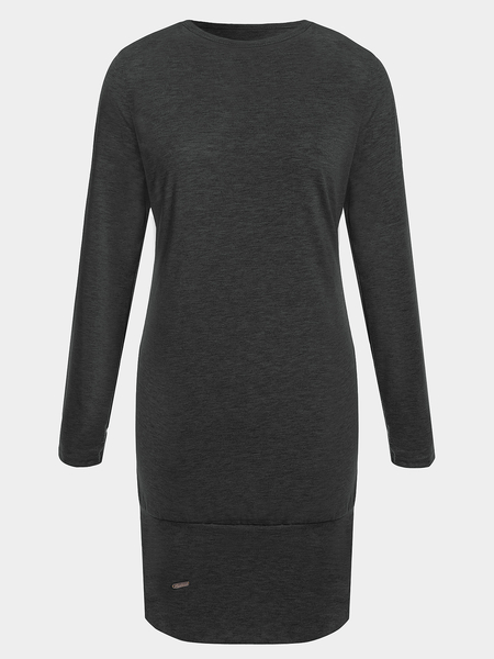Yoins Black Side Pockets Round Neck Long Sleeves Casual Dress
