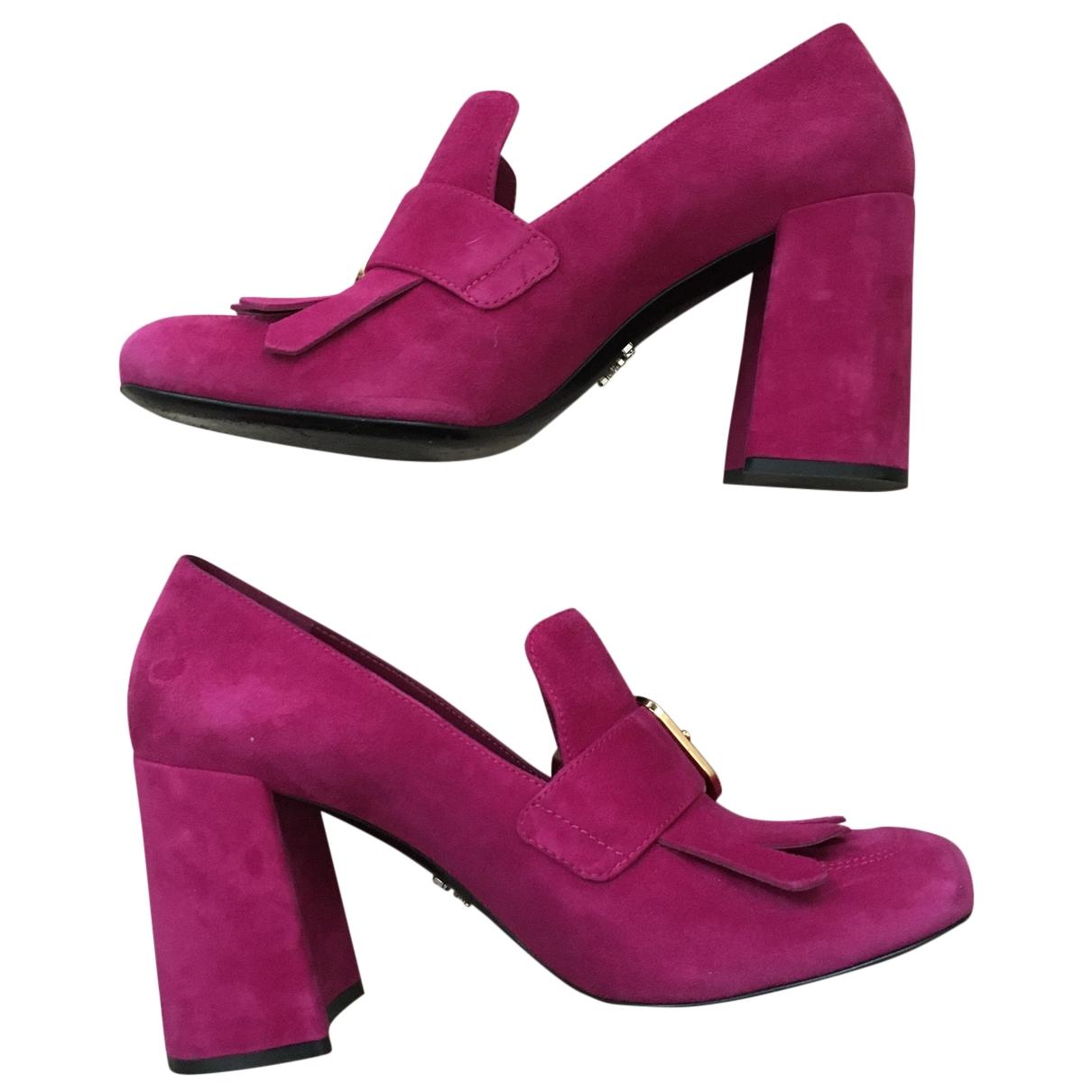 Prada \N Pink Velvet Flats for Women 38.5 EU