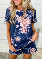 Floral T-Shirt Tee And Tie Shorts Two-Piece Set - Deep Blue