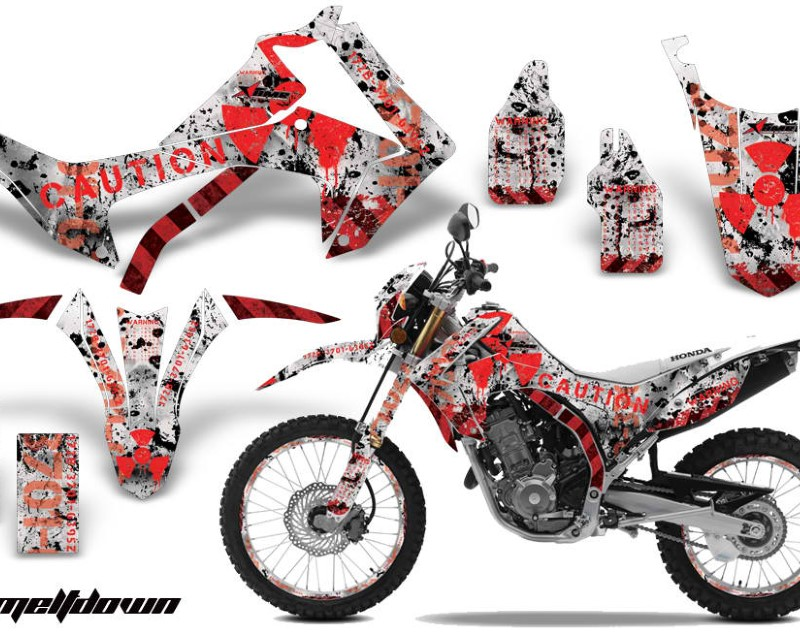 AMR Racing Graphics MX-NP-HON-CRF250L-13-16-MD R W Kit Decal Sticker Wrap + # Plates For Honda CRF250L 2013-2016áMELTDOWN RED WHITE