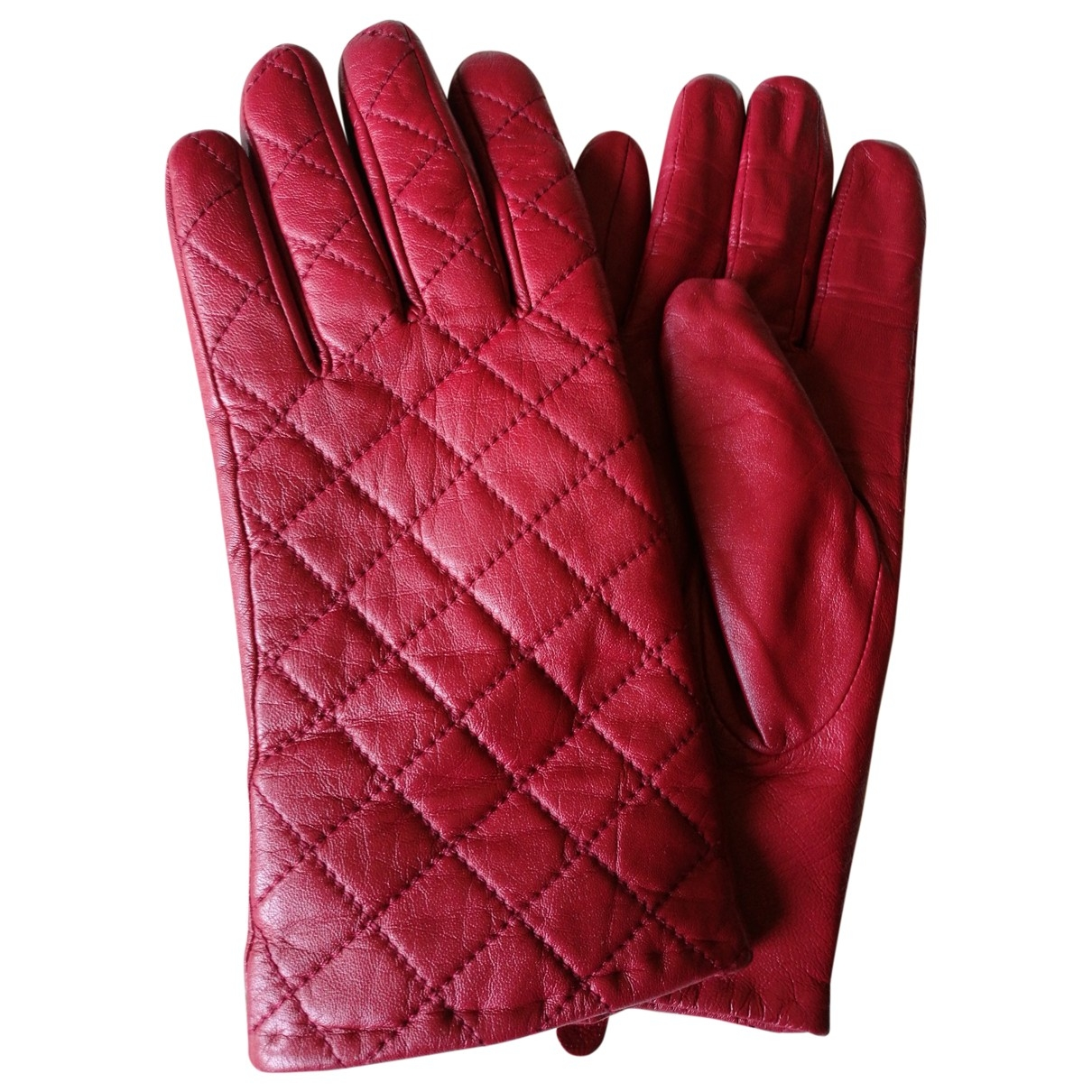 Non Signé / Unsigned \N Red Leather Gloves for Women M International