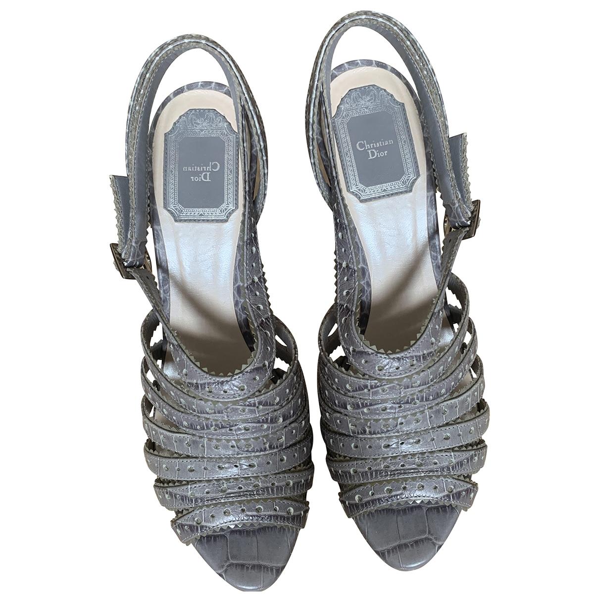Dior \N Grey Leather Sandals for Women 38.5 EU