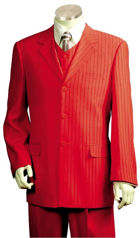 3 Button Stunning Deep Red Zoot Suit Mens