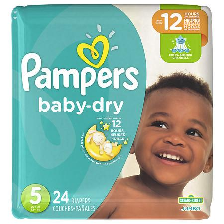 Pampers Baby Dry Diapers Size 5 - 24.0 ea