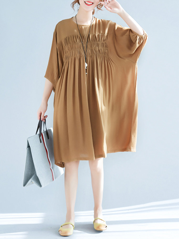 Vintage Pure Color Pleated 3/4 Sleeve O-neck Dresses For Women