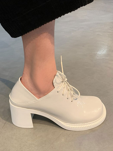 Milanoo Trendy Oxfords Casual Round Toe PU Leather Chunky Heel Women\'s Oxford Dress