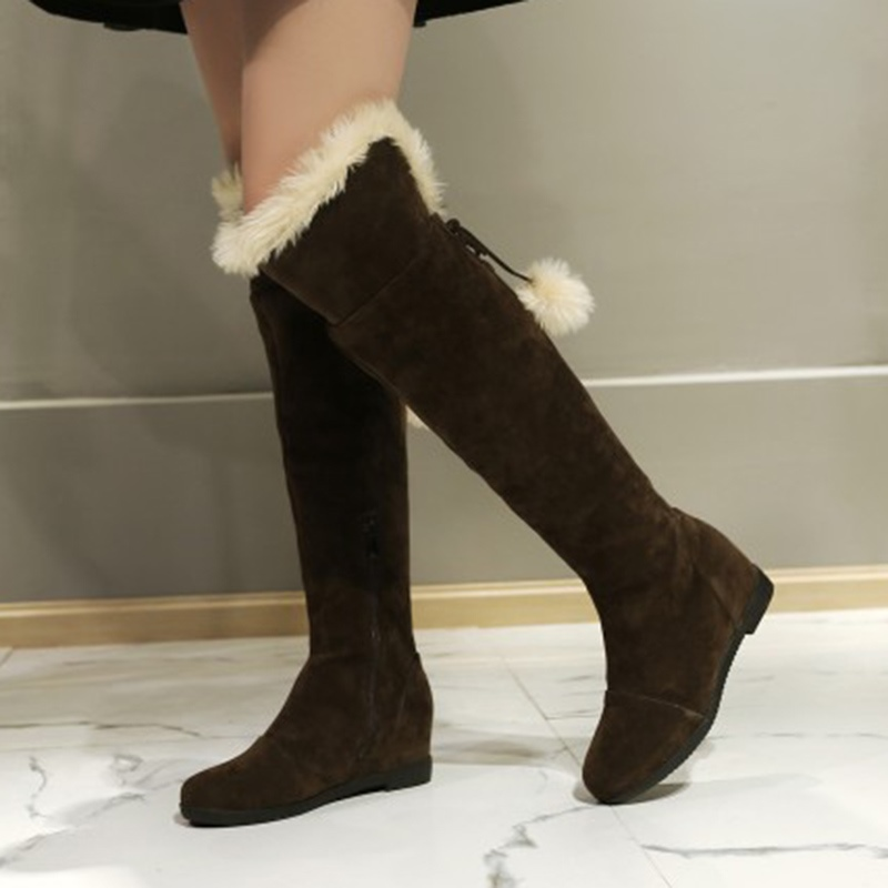 Ericdress Fuzzy Pompon Plain Women's Knee High Boots