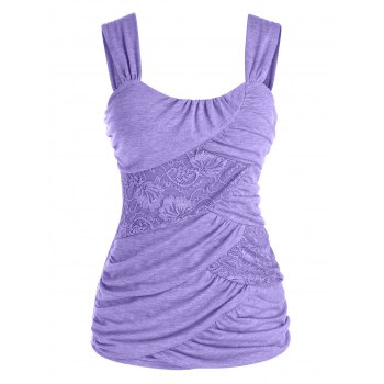 Plus Size Ruched Lace Insert Tank Top