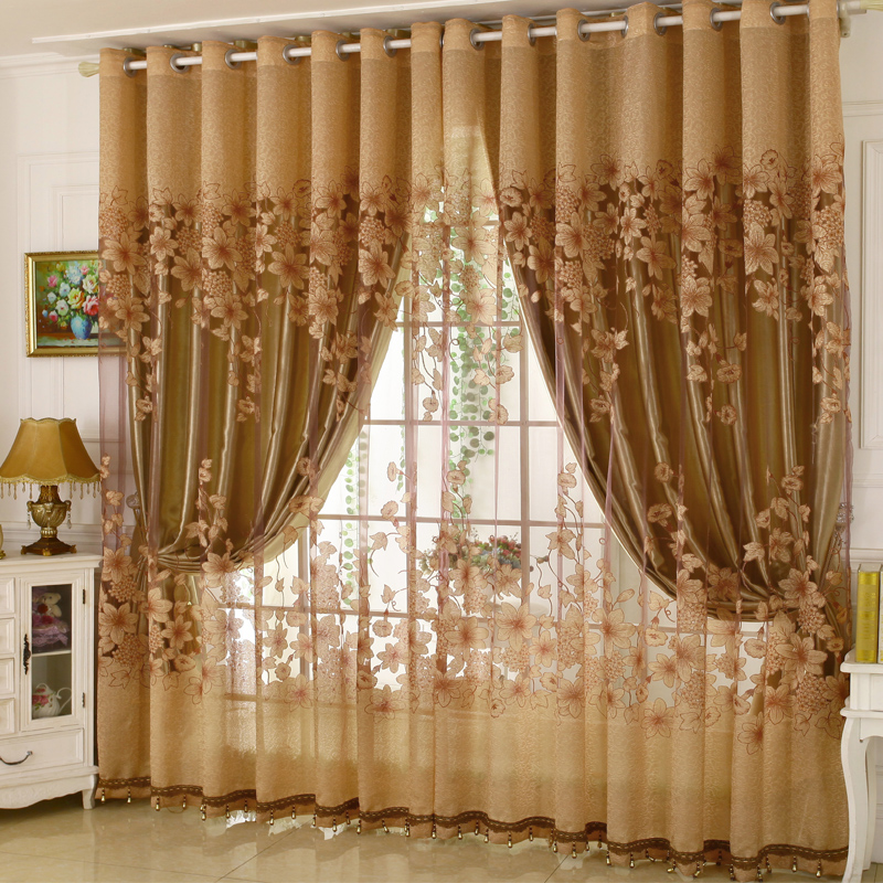 European Style Heat Insulation Feature Jacquard Technics Curtain Sets