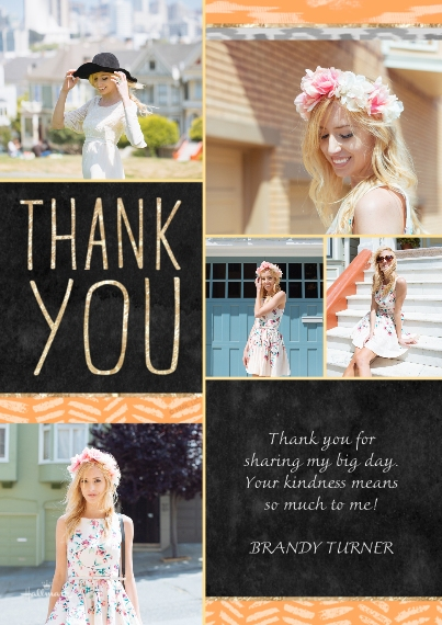 Thank You Cards Flat Matte Photo Paper Cards with Envelopes, 5x7, Card & Stationery -Sparkle Ikat Thank You
