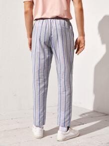 Men Drawstring Waist Striped Pants